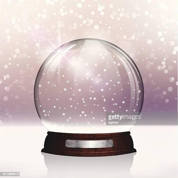 ilustraciones, imágenes clip art, dibujos animados e iconos de stock de christmas snow globe.  feliz navidad sobre fondo púrpura brillante rotulación - glazed food