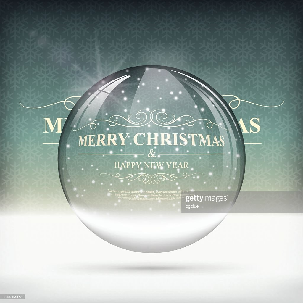 Christmas snow globe on Vintage Background
