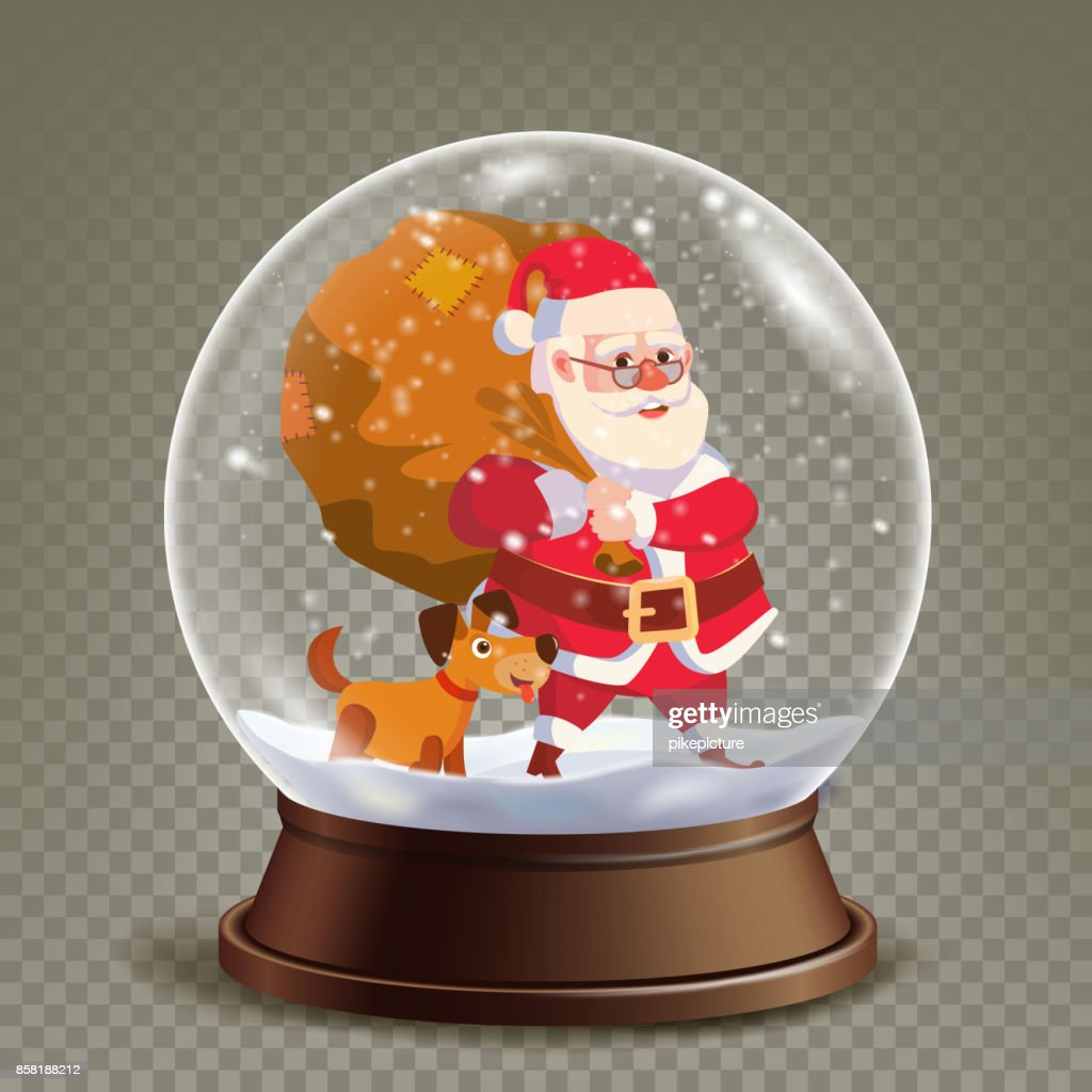 Christmas Snow Globe Realistic Vector. Cute Santa Claus With Gifts. Realistic 3d Snow Globe Toy. Winter Xmas Design Element. Isolated On Transparent Background Illustration