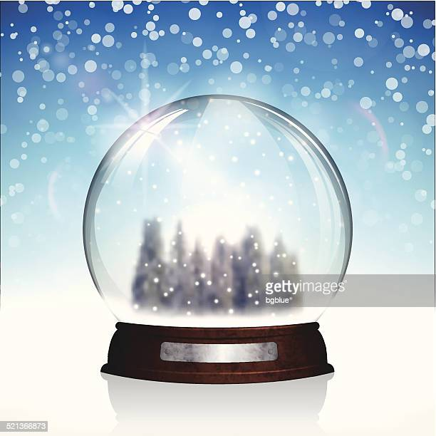 christmas snow globe with christmas trees on bright blue background - glazed food stock illustrations, clip art, cartoons, & icons