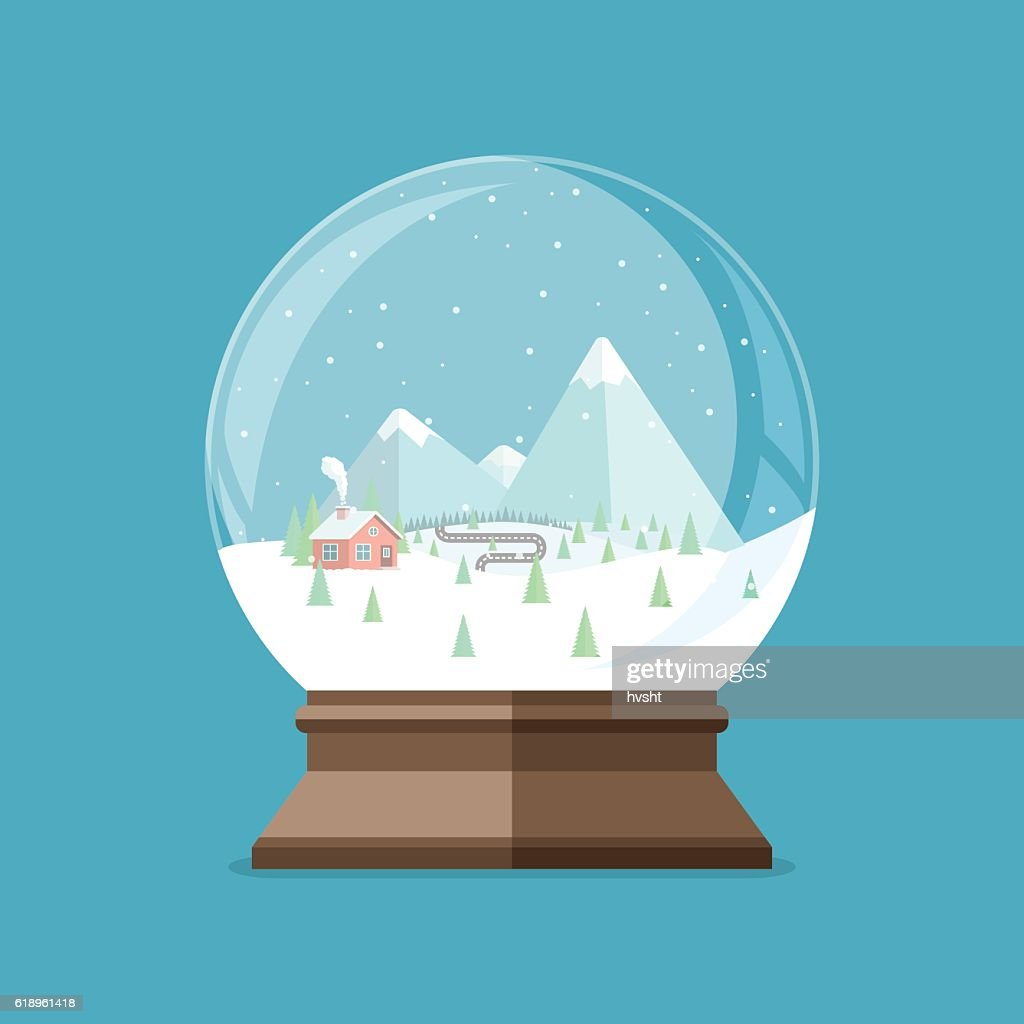 Christmas snow globe with house in the forest and mountains