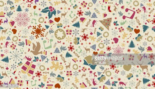 christmas snowflake background. seamless pattern. - af-studio stock illustrations