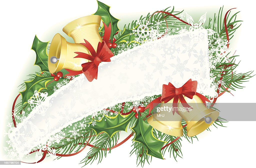 Christmas Snowflake Banner With Bells And Holly Garland Vector Art