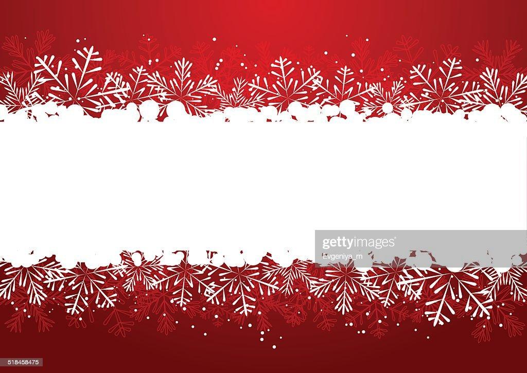 Weihnachten Schneeflockegrenze Mit Rot Vektorgrafik   Getty Images