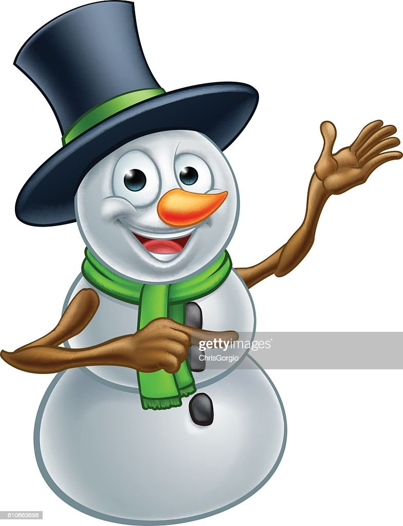 Christmas Snowman Cartoon Character Pointing