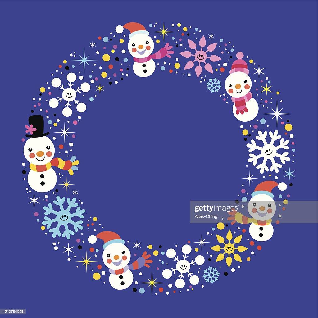 Weihnachten Schneemann Schneeflocken Winter Holiday Kreis Frame ...