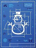 Christmas snowman symbol as blueprint drawing