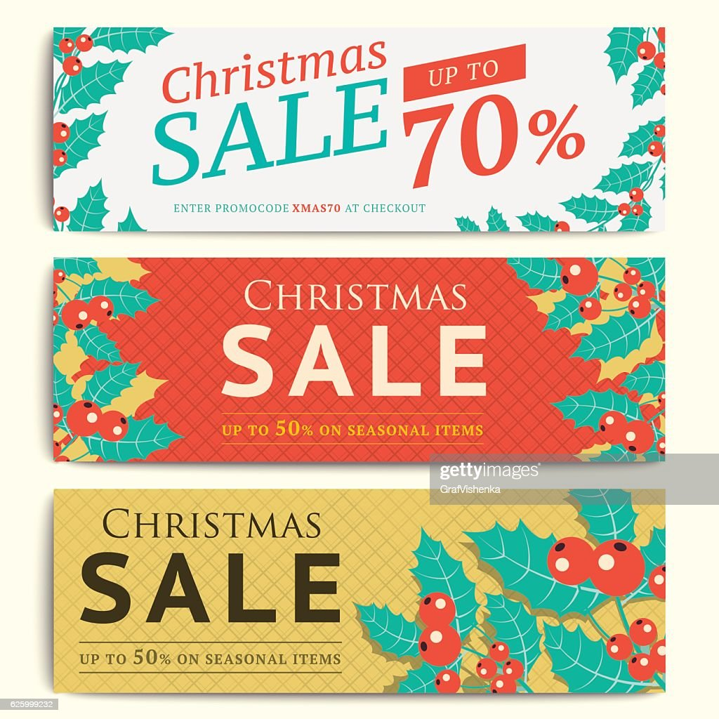 Christmas social media sale banners for mobile website ad. Xmas