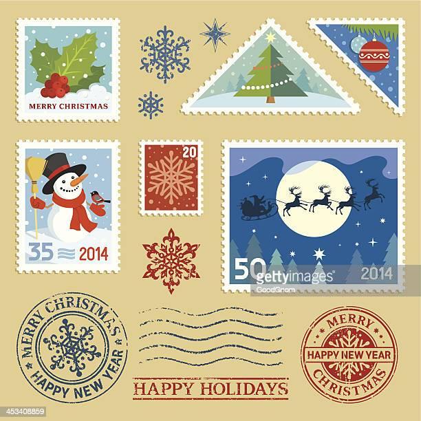 christmas stamps set - postage stamp stock illustrations