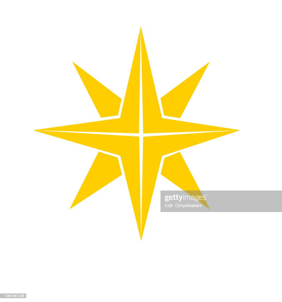 Christmas star icon gold flat vector isolated on white