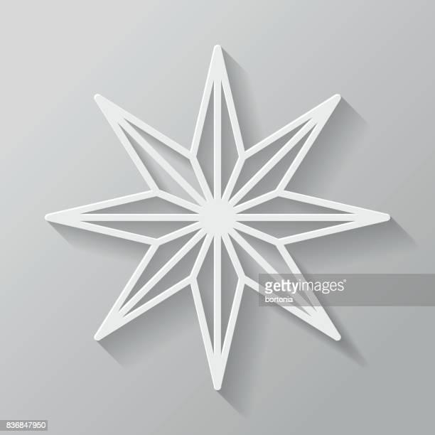 Christmas Star Thin Line Flat Design Icon