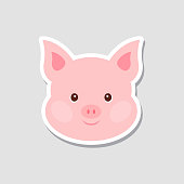 Christmas sticker. Portrait of pink pig. Funny cartoon face of farm animal. Vector illustration, Happy New Year.