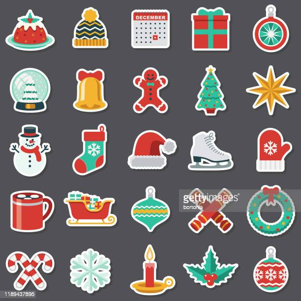 christmas sticker set - candy cane stock illustrations