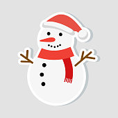 Christmas sticker. Snowman in a New Year hat and a red scarf. winter icon. Vector illustration.