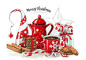 Christmas still-life, red tea pot, coolies, abstract christmas tree, glass jar with candy canes, cinnamon sticks, cup of coffee and jingle bells on white background, illustration