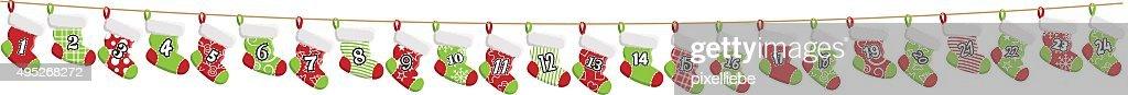 christmas stocking advent calendar vector