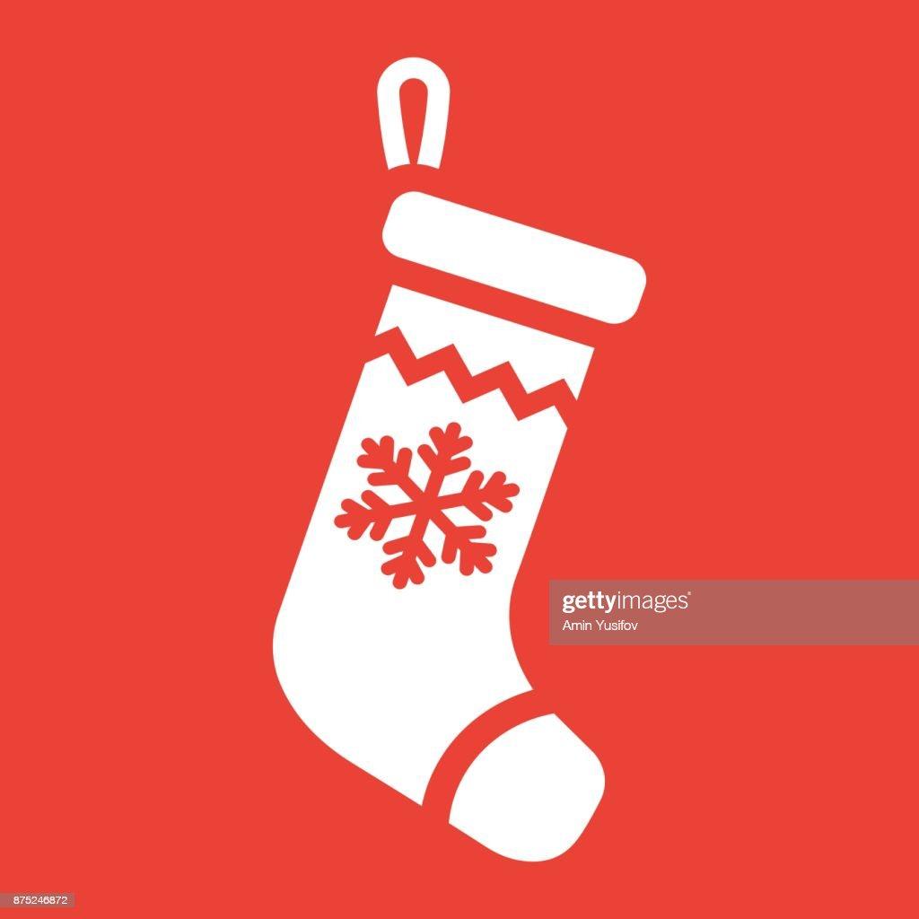 Weihnachtsstrumpf Glyphe Symbol Neujahr Und Weihnachten Xmas ...