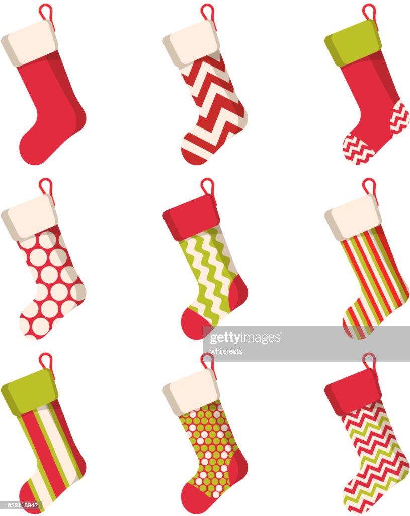Christmas stocking set isolated on white background. Holiday Santa Claus