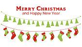 Christmas stockings and christmas tree garlands. Banner, greeting card