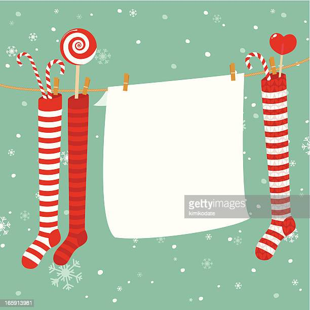 christmas stockings decoration - list stock illustrations, clip art, cartoons, & icons