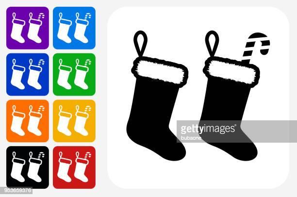 クリスマス ストッキング アイコン広場ボタン セット