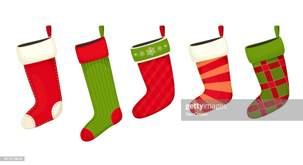 christmas stockings red green colors vector art - Why Are Red And Green Christmas Colors