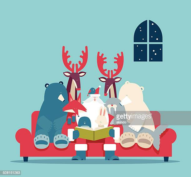 christmas stories - reading stock illustrations