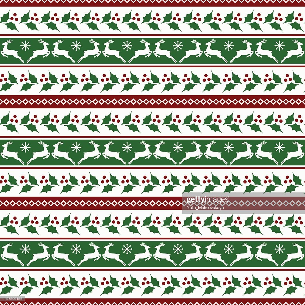 Christmas striped pattern with deers and holly