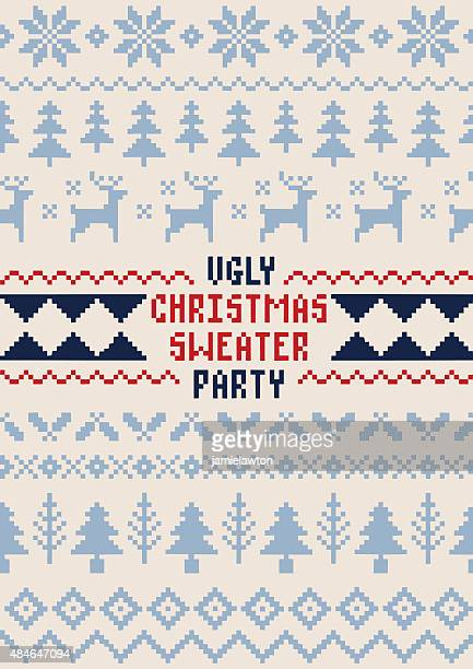 christmas sweater party poster - handmade seamless pattern - jumper stock illustrations