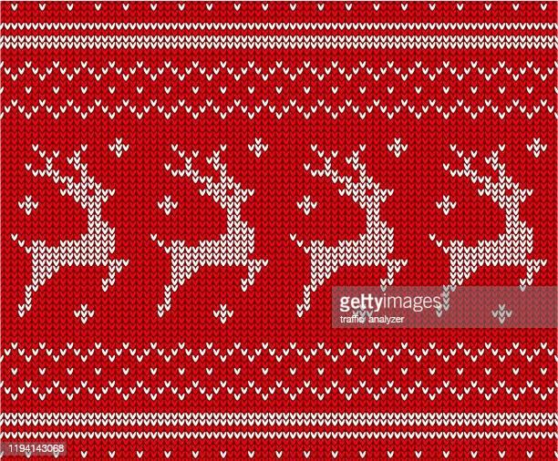 christmas sweater pattern - reindeer stock illustrations