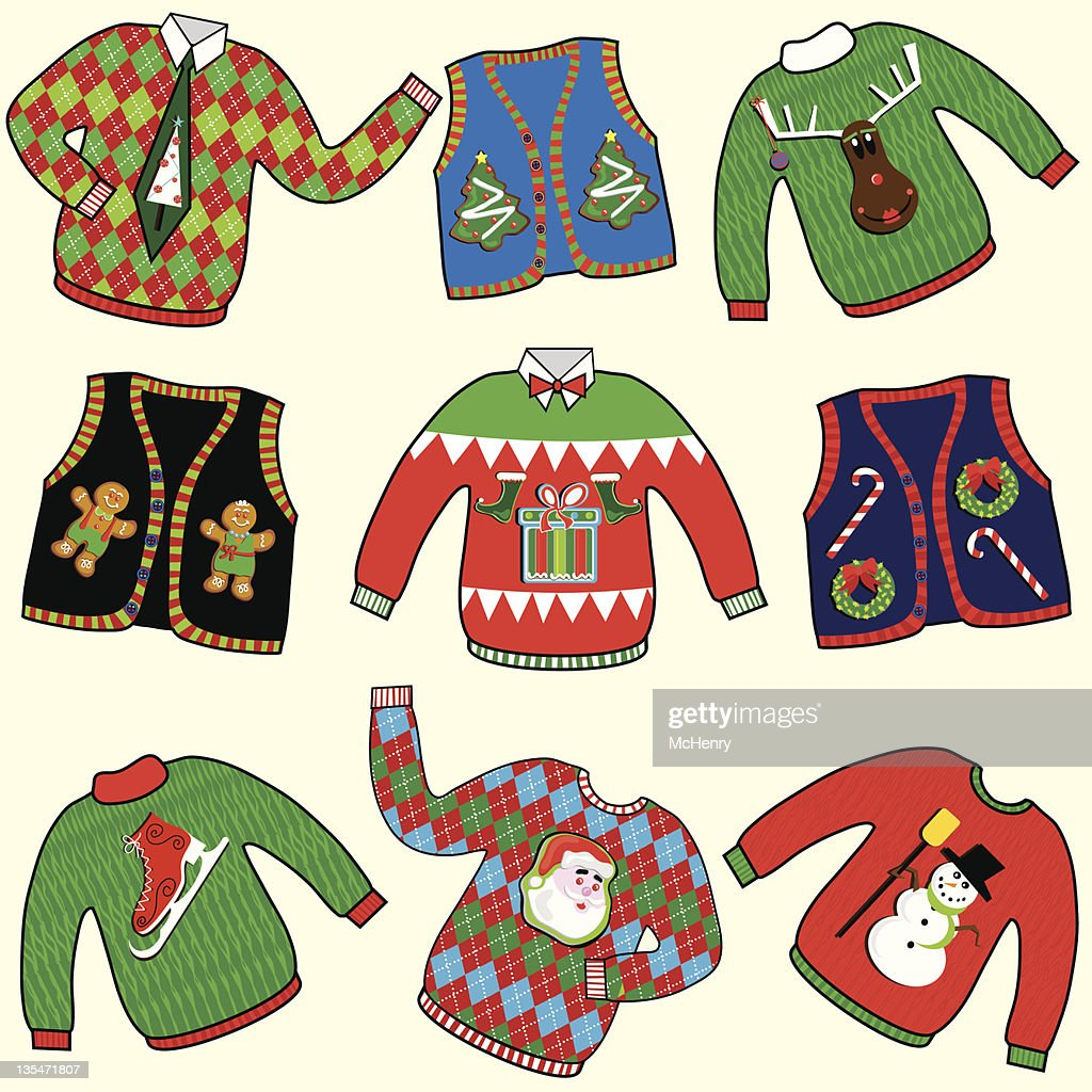 UGLY Christmas Sweaters Party Invitation Clipart