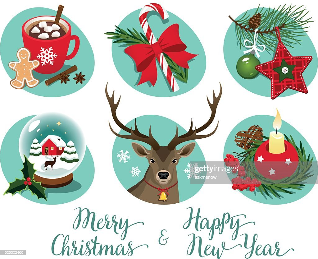 Christmas Symbols And Decorations Vector Art Getty Images