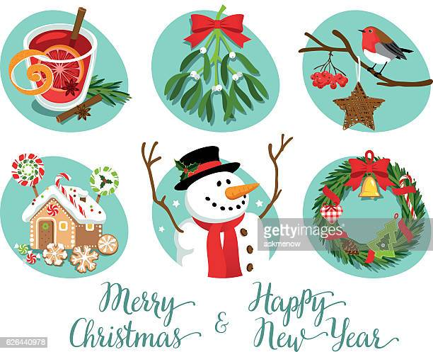 christmas symbols and decorations - mulled wine stock illustrations, clip art, cartoons, & icons