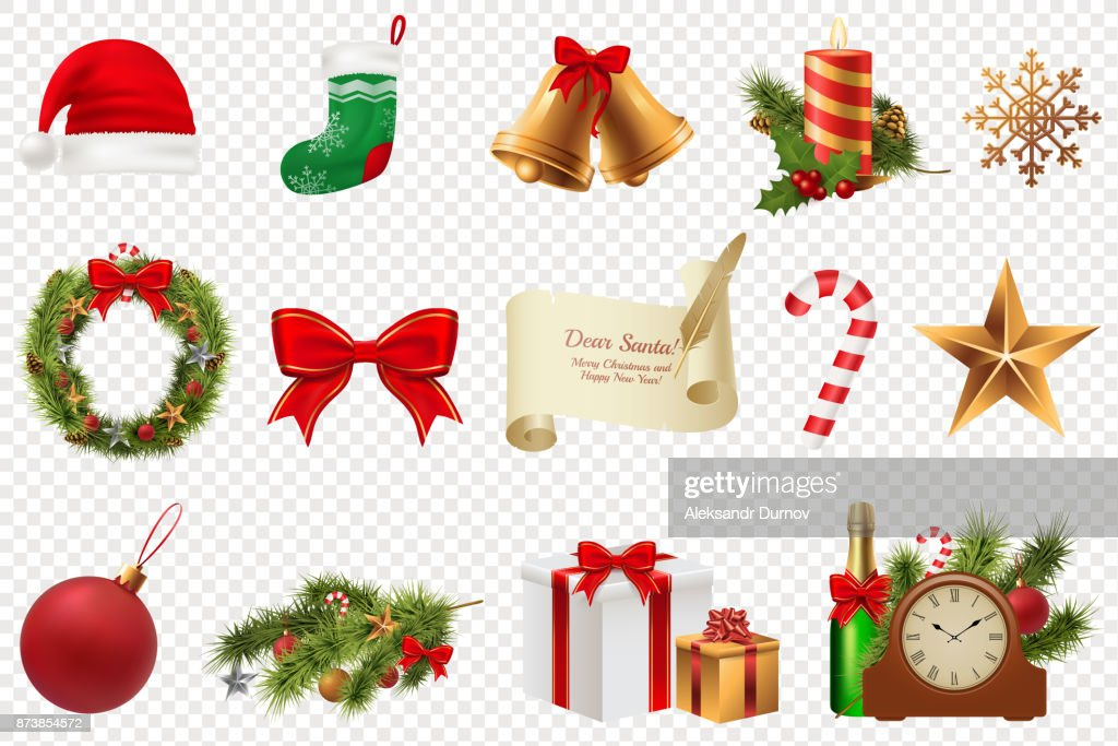 Christmas Symbols Big Set Colorful Christmas Icons Isolated On White