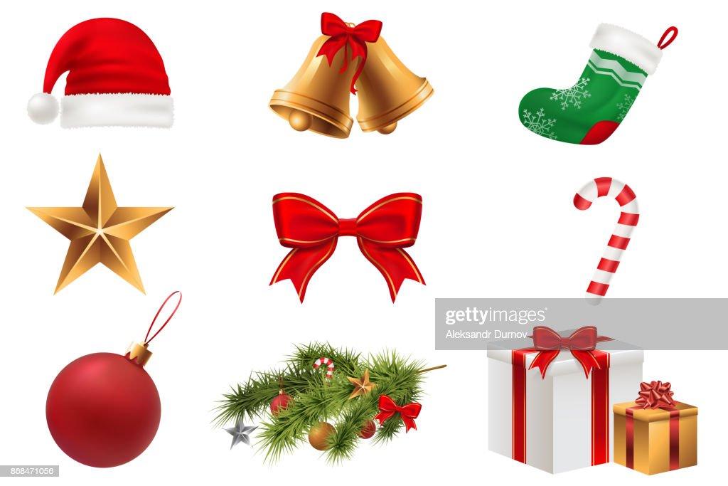 Christmas Symbols set. Colorful christmas icons isolated on white transparent background. Traditional Xmas attributes. Vector illustration. Eps 10