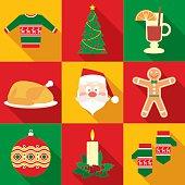 Christmas Symbols Set in Flat Style