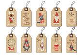 Christmas tags set, cartoon hand drawn style. Vector illustration.