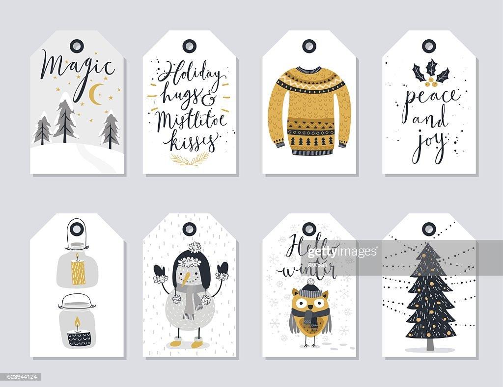 Christmas tags set, hand drawn style.