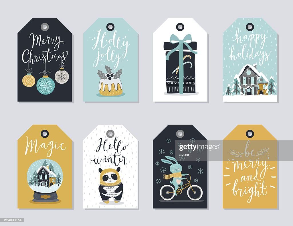 Christmas tags set, hand drawn style.