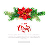 Christmas template for email list with Poinsettia