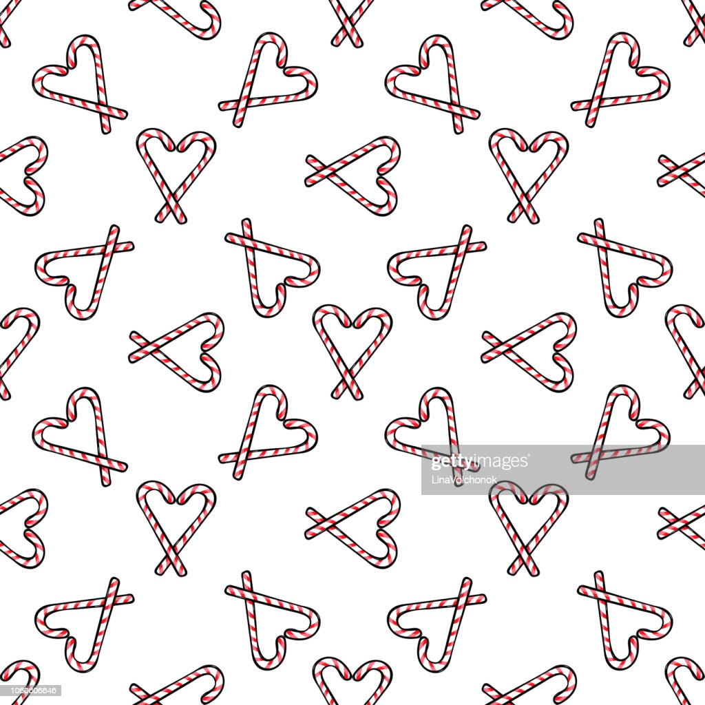 Christmas theme, candy cane seamless pattern, vector illustration.
