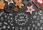 Christmas theme with white doodles and decorations