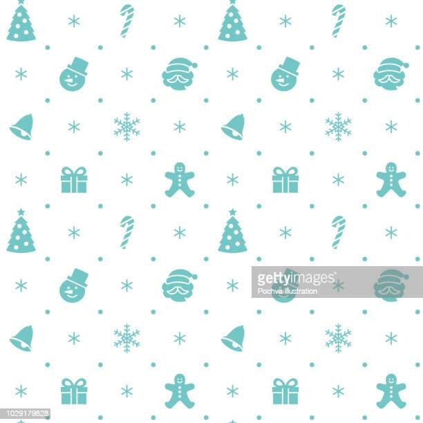 ilustraciones, imágenes clip art, dibujos animados e iconos de stock de navidad silueta con temas icono de patrones sin fisuras - galletas navidad