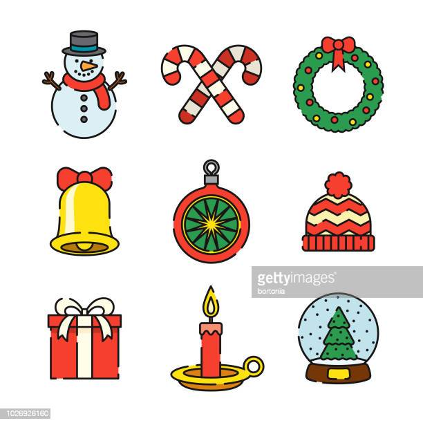 christmas thin line icon set - candy cane stock illustrations