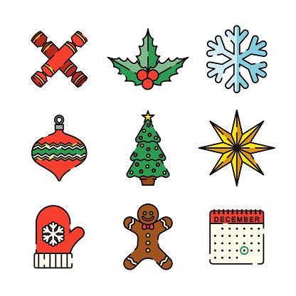 Christmas Thin Line Icon Set - gettyimageskorea