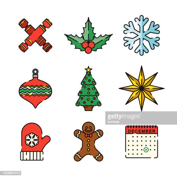 ilustraciones, imágenes clip art, dibujos animados e iconos de stock de navidad fino conjunto de iconos de línea - galletas navidad