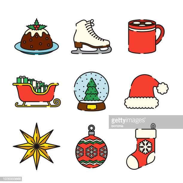 christmas thin line icon set - sleigh stock illustrations