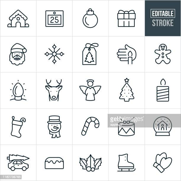 christmas thin line icons - editable stroke - mammal stock illustrations