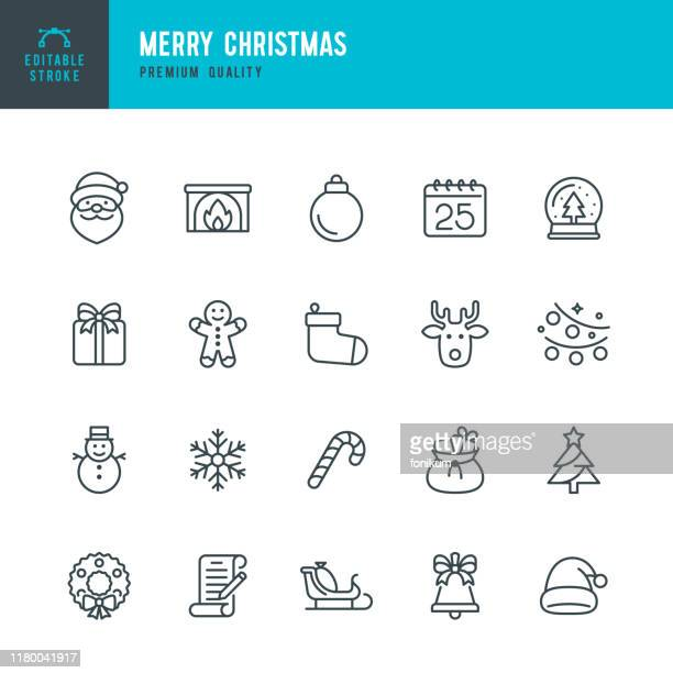 christmas - thin line vector icon set. editable stroke. pixel perfect. set contains such icons as santa claus, christmas, gift, reindeer, christmas tree, snowflake. - mammal stock illustrations