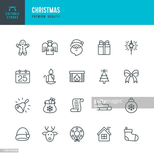christmas - thin line vector icon set. editable stroke. pixel perfect. set contains such icons as santa claus, christmas, gift, reindeer, christmas tree, snowflake, calendar. - gingerbread man stock illustrations